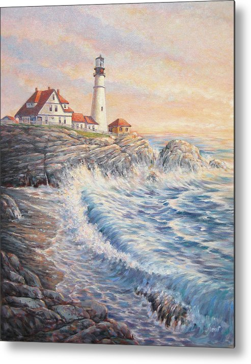 Lighthouse Metal Print featuring the painting Sunrise Light by Don Trout