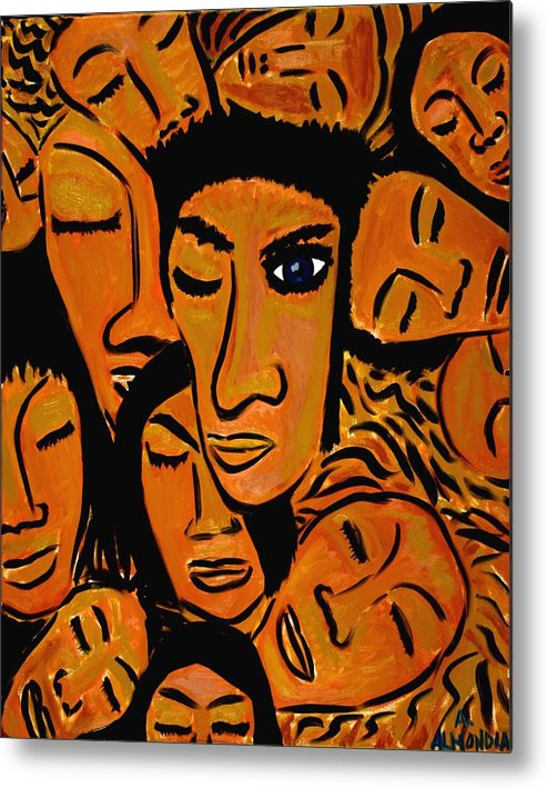 Faces Metal Print featuring the painting You Know It's Not Polite To Stare by Albert Almondia