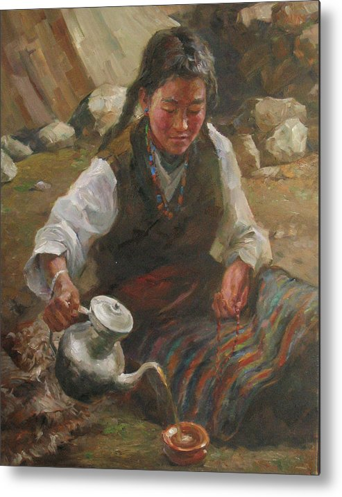 Tibet Metal Print featuring the painting Afternoon Tea by Kelvin Lei