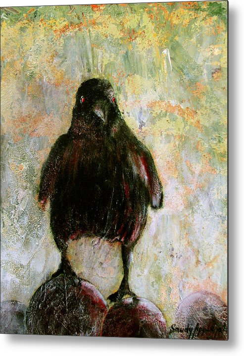 Raven Metal Print featuring the painting And His Eyes by Sandy Applegate
