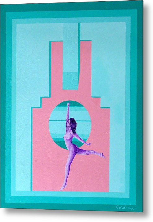 Art Deco Metal Print featuring the painting Art Deco Gal by James Cordasco