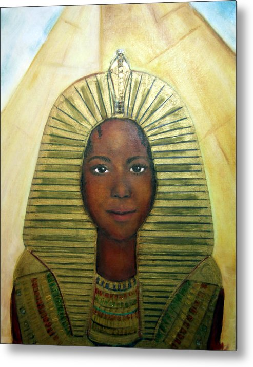 Egyptian Metal Print featuring the painting Boy King by Michela Akers