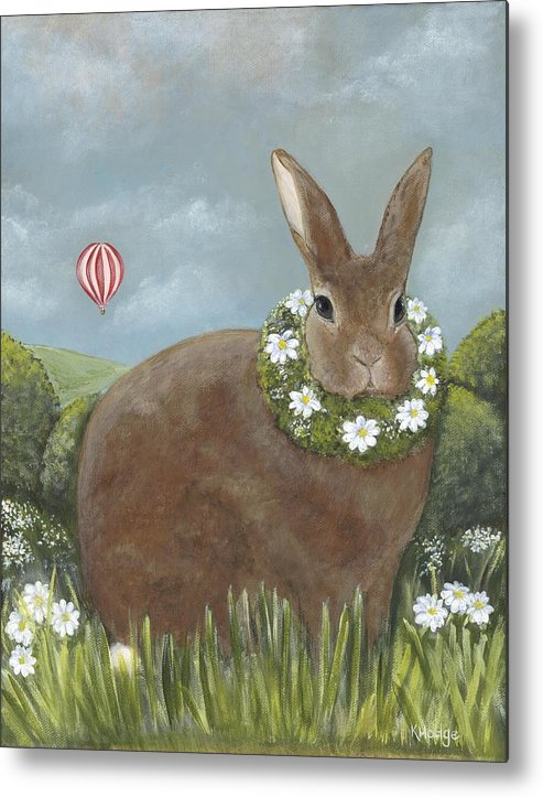 Bunny Metal Print featuring the painting Daisy's Day Out by Kimberly Hodge