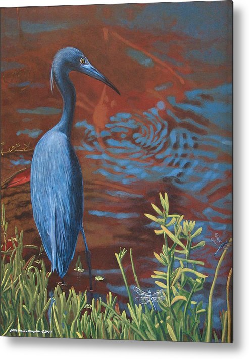Painting Metal Print featuring the painting Gazing Intently by Peter Muzyka