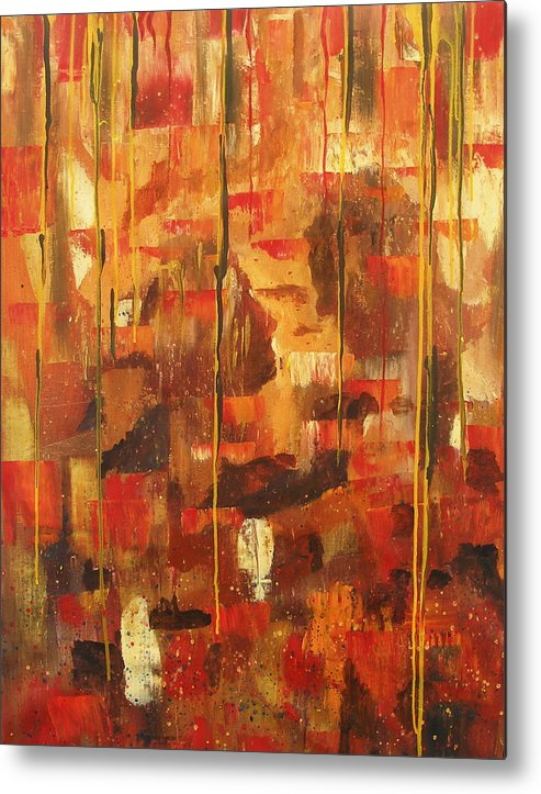 Abstract Metal Print featuring the painting Kiss Me by Miroslaw Chelchowski