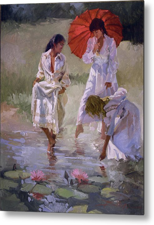 Figurative Metal Print featuring the painting Ladies And Lilies by Betty Jean Billups