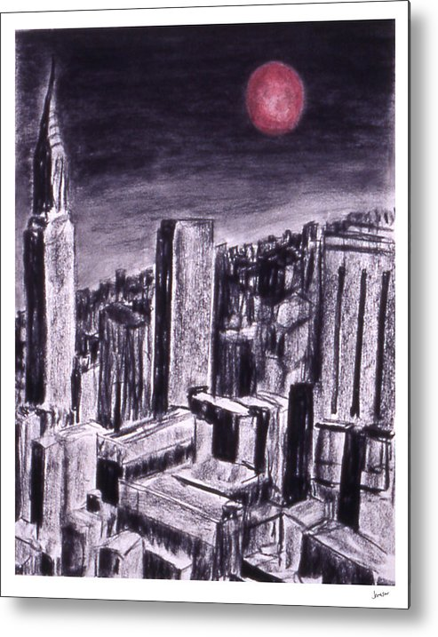 Night Sky Metal Print featuring the drawing Moon Over Manhattan by Gary Jameson