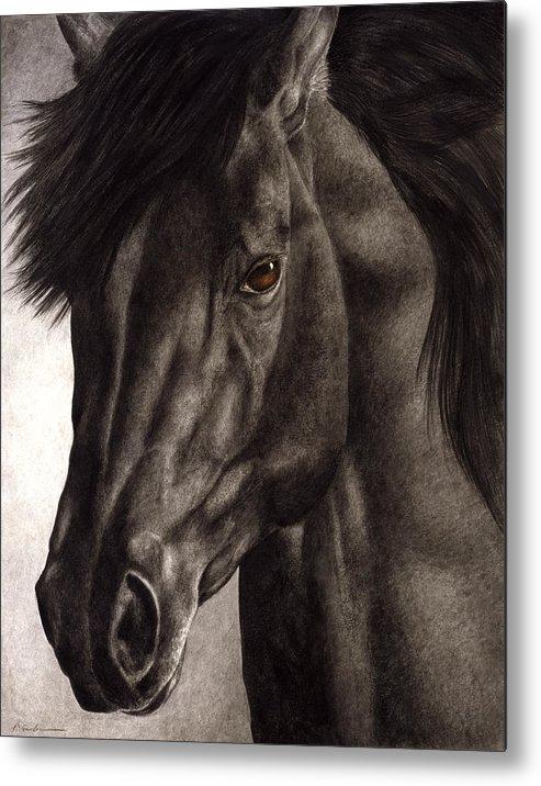 Horse Metal Print featuring the painting Moondark by Pat Erickson