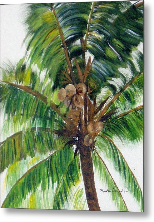 Common Beach Palm Tree Metal Print featuring the painting Palma Tropical by Maritza Bermudez