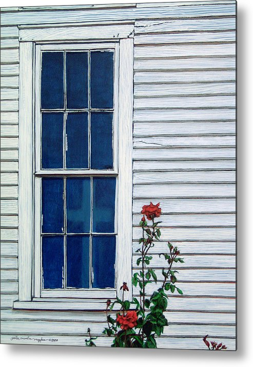 Painting Metal Print featuring the painting Red White And Blue by Peter Muzyka