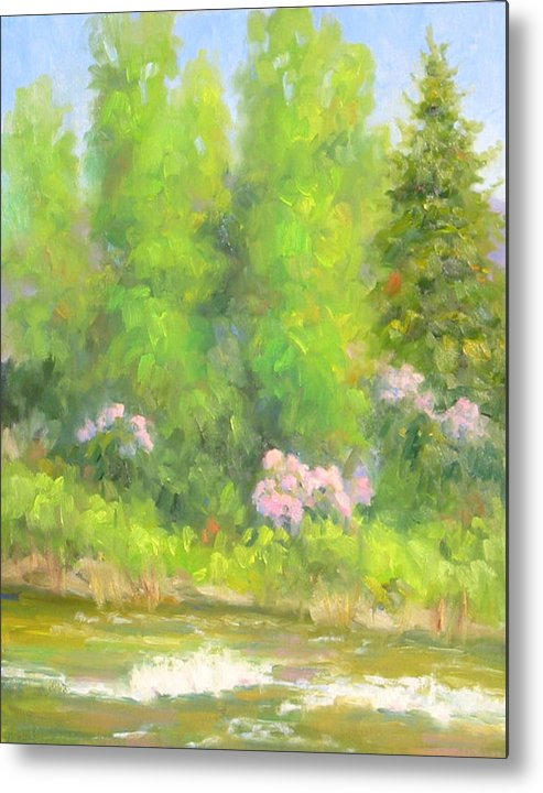 Landscape Metal Print featuring the painting Spring On Gore Creek by Bunny Oliver