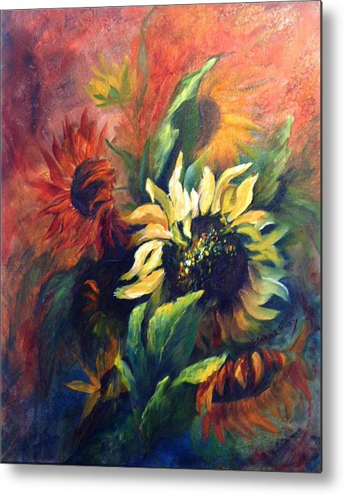 Sunflower Metal Print featuring the painting Sunflowers In Red by Elaine Bailey