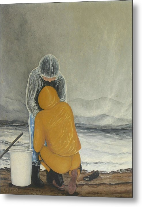 Figurative Metal Print featuring the painting The Clamdigger by Georgette Backs