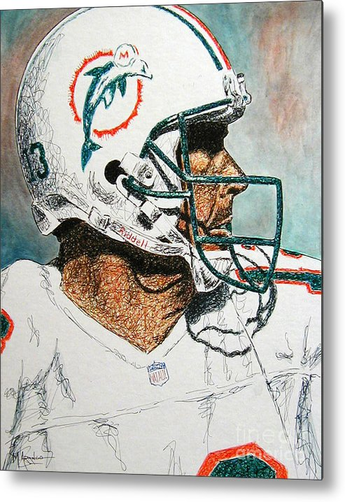 Dan Marino Metal Print featuring the mixed media The Man by Maria Arango