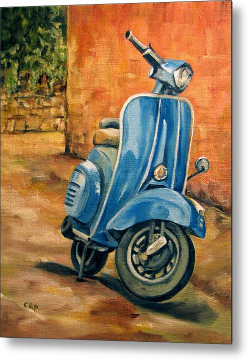 Vespa Metal Print featuring the painting Vespa 2 by Cheryl Pass