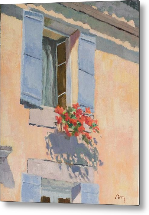 France Metal Print featuring the painting Windowbox Flowers by Fay Terry