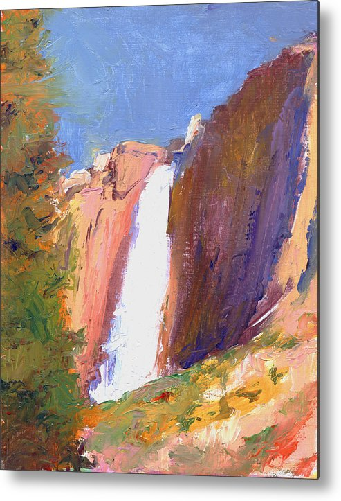 Landscape Metal Print featuring the painting Yosemite Falls by Timothy Chambers