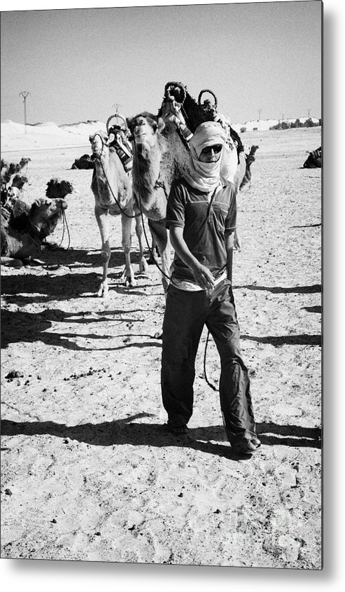 Tunisia Metal Print featuring the photograph bedouin camel tender leads group of camels to be used for tourist trip into the sahara desert at Douz Tunisia by Joe Fox