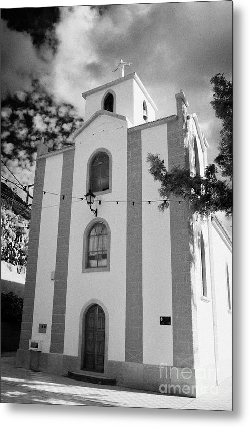 Europe Metal Print featuring the photograph front of the church in Los Banquitos Tenerife Canary Islands Spain by Joe Fox
