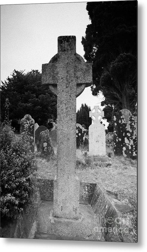 Ireland Metal Print featuring the photograph St Kevins Cross High Celtic Cross Grave Stone Glendalough Monastery County Wicklow Republic Of Ireland by Joe Fox