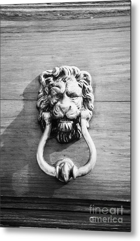 Europe Metal Print featuring the photograph traditional antique brass lion head door knocker on wooden door Tenerife Canary Islands Spain by Joe Fox