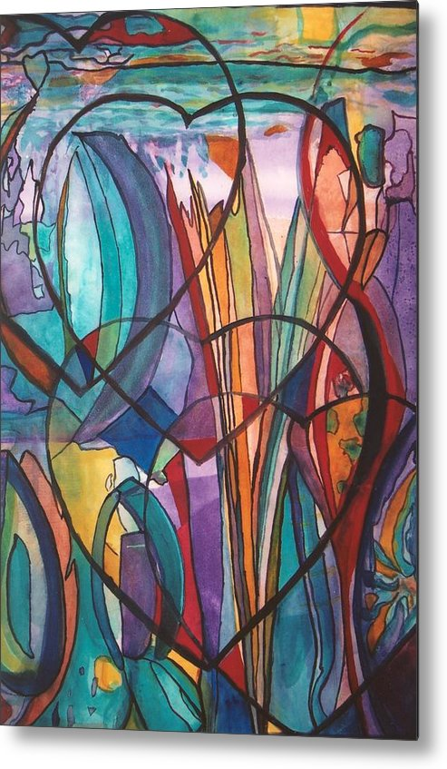 Card Games Metal Print featuring the painting 4 Hearts Bridge by Linda Deater
