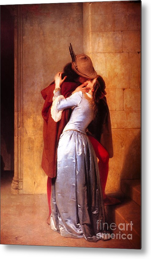 Pd Metal Print featuring the painting Francesco Hayez Il Bacio Or The Kiss by Pg Reproductions