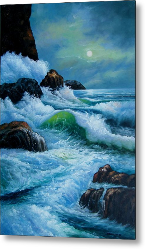 Seascape Metal Print featuring the painting Moody Shores by Imagine Art Works Studio