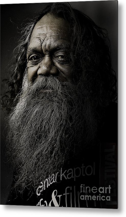 Aboriginal Metal Print featuring the photograph Portrait Of Cedric by Sheila Smart Fine Art Photography