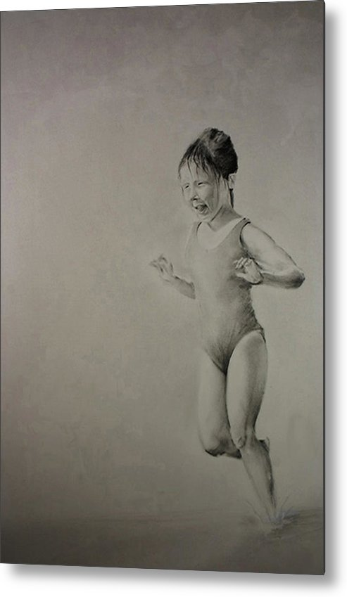 Children Metal Print featuring the drawing Running On Water by John C
