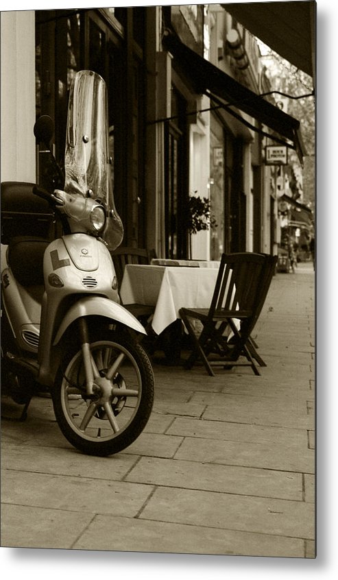 Scooter Metal Print featuring the photograph Scooter Cafe by Ayesha Lakes