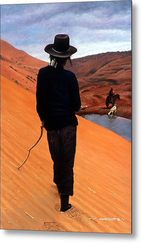 Navajo Indian Southwestern Monument Valley Metal Print featuring the painting The Good Shepherd by John Watt