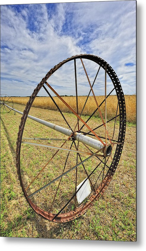 Irrigation Metal Print featuring the photograph Wheel Of Water by Tim Doubrava