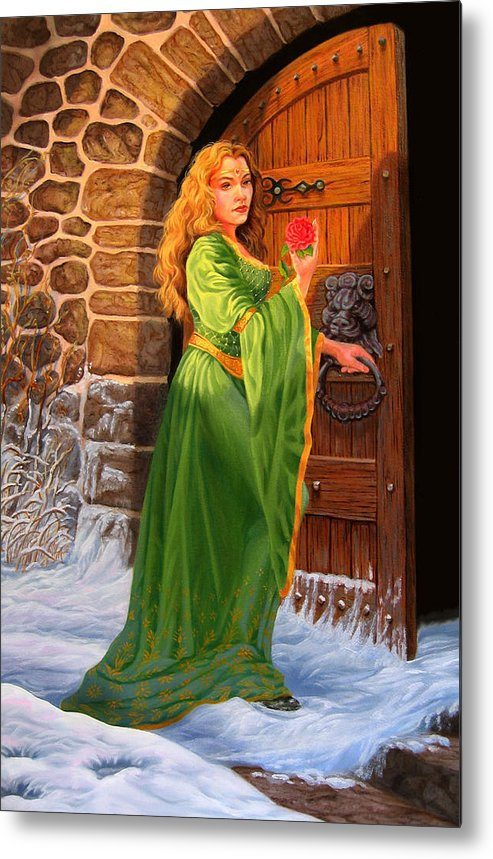 Medievil Metal Print featuring the painting Winter's Last Rose by Pat Lewis
