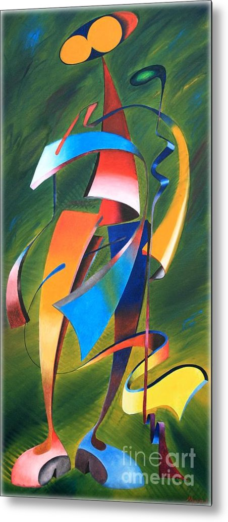Painting Metal Print featuring the painting Twisted Wood Man by Abu Artist