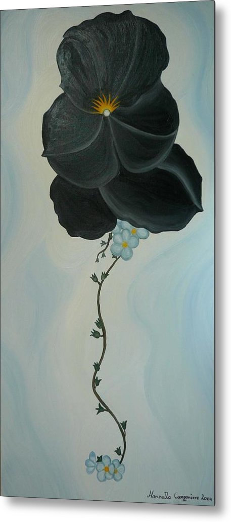 Marinella Owens Metal Print featuring the painting Black Pansi by Marinella Owens