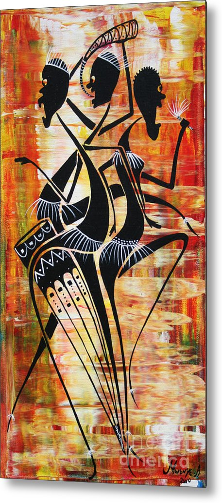 Painting Metal Print featuring the painting Makonde And Mask 5 by Abu Artist
