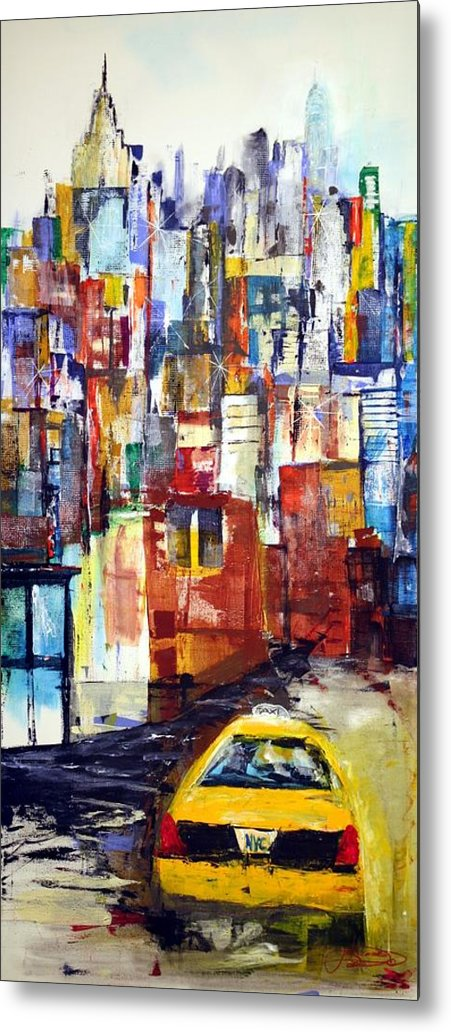 New York Metal Print featuring the painting New York Cab by Jack Diamond