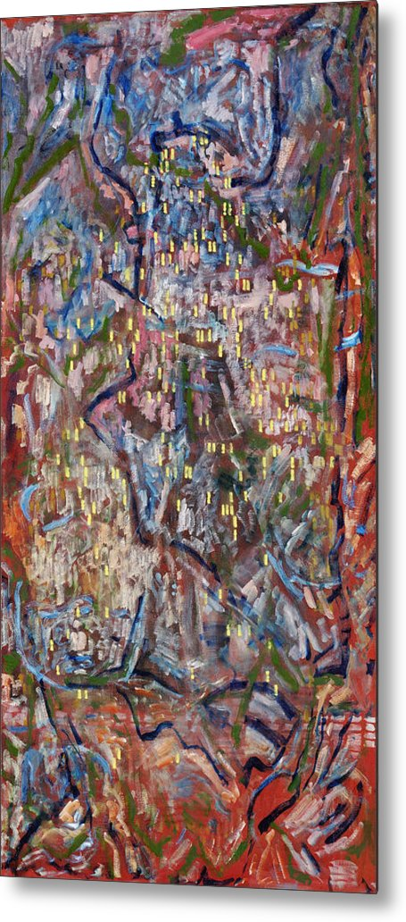 Abstract Red Yellow Pattern Metal Print featuring the painting Red City by Joan De Bot