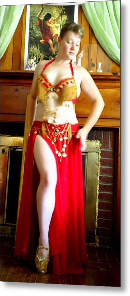 Belly Dancer Metal Print featuring the photograph Red Costume by Scarlett Royal