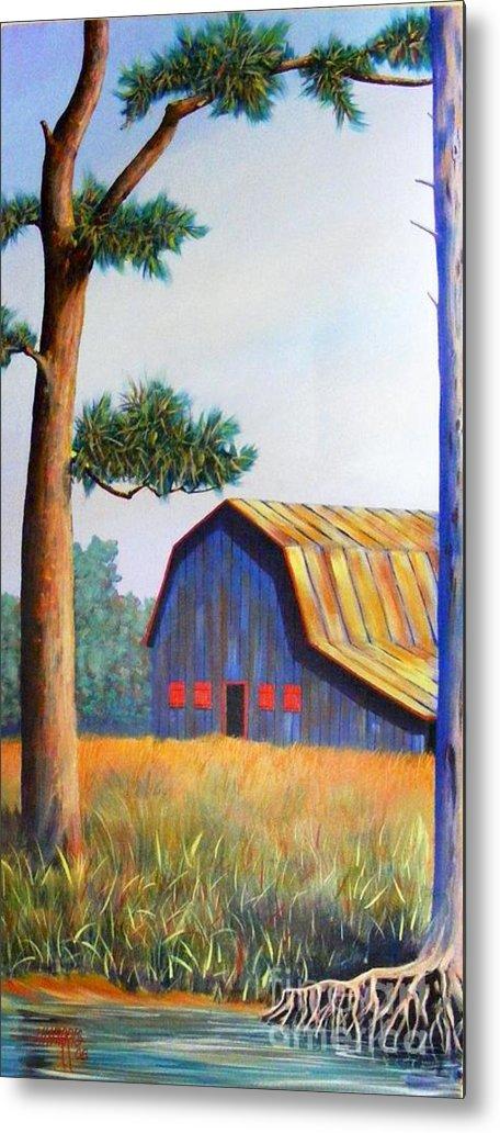 Barn Metal Print featuring the painting Riverbank Barn by Hugh Harris