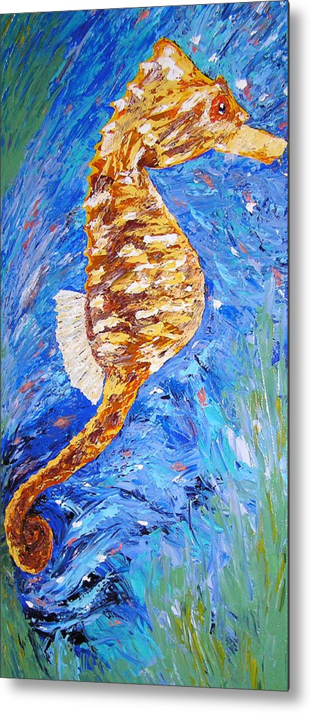 Seahorse Metal Print featuring the painting Seahorse Number 1 by Ricklene Wren