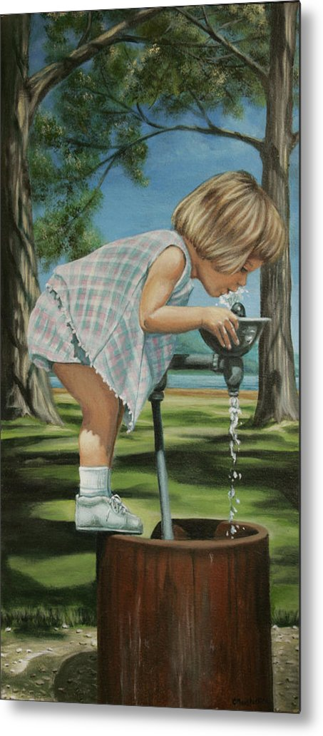 Children Metal Print featuring the painting The Fountain by Colleen Maas-Pastore