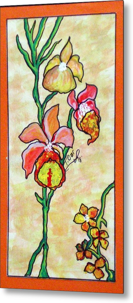 Flowers Flower Warm Metal Print featuring the painting Warm Flower Study by Tammera Malicki-Wong