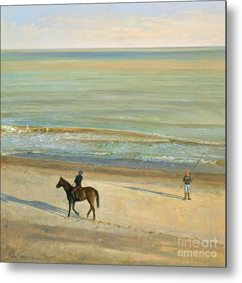 20th; Seaside; Suffolk; Riding; Horse; Rider; Fishing; Rod; Line; Fisherman; Talking; Exchanging Conversation; Sea; Footprints In The Sand Metal Print featuring the painting Beach Dialogue Dunwich by Timothy Easton