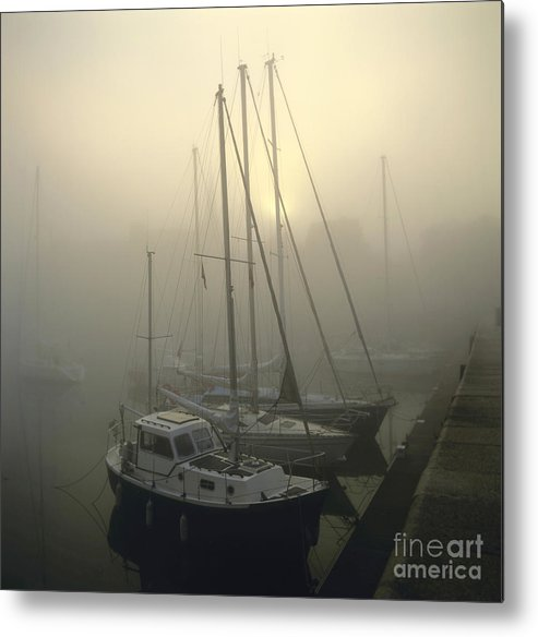 Ambiance Ambient Atmosphere Atmospheric Boat Boats Calvados Day Daylight Daytime During Europe European Exterior Exteriors Filled Fog Foggy France French Full Harbor Harbour Harbour Haze Hazy Honfleur In Mist Mists Misty Mood Mood-filled Moods Nobody Normandy Of Outdoor Photo Photos Port Ports Shot Shots The Metal Print featuring the photograph Honfleur Harbour In Fog. Calvados. Normandy. France. Europe by Bernard Jaubert