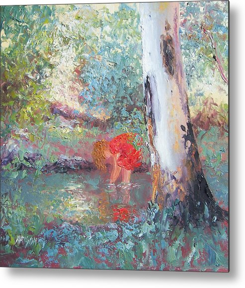 Gum Trees Metal Print featuring the painting Paddling In The Creek by Jan Matson