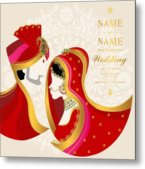 Wedding Invitation Card Templates With Indian Man And Women In Traditional Clothes On Paper Color Background Metal Print