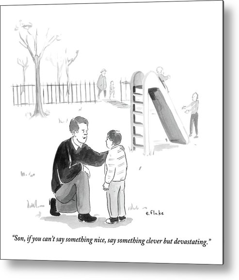 Advice Metal Print featuring the drawing A Father Encourages His Son At The Playground by Emily Flake