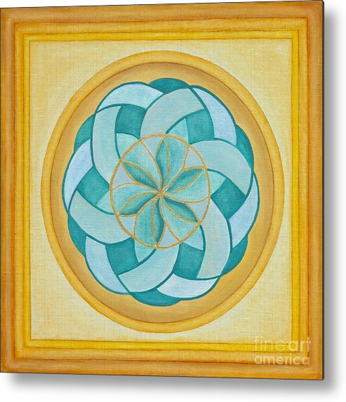 Mandala Metal Print featuring the painting A Flower Released by Mayki Wiberg